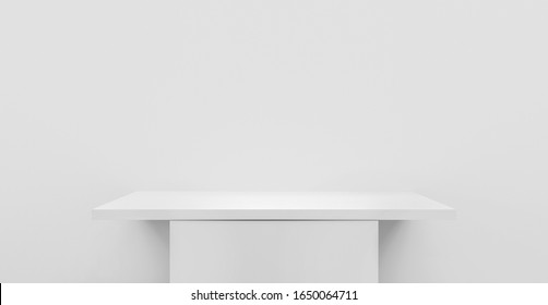 Ilustración en 3D de una mesa de estantería vacía en una pared blanca o pedestal vacío para la burla, soporte en blanco para el producto y visualización en fondo blanco mínimo