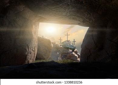 3D Illustration Empty Tomb of Jesus Christ