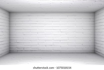 3D illustration - Empty white brick room