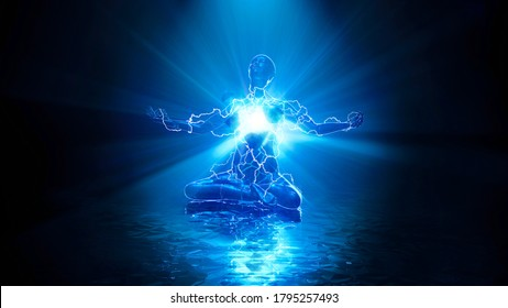3D illustration of the energy of a meditating person
