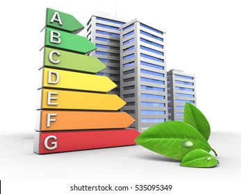 3d illustration of energy ranking over white background with city and leaf