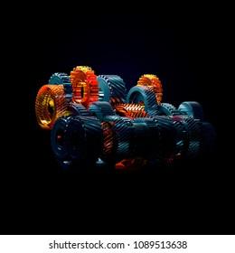 3d illustration of engine gear wheels, closeup view.
