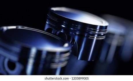 3d illustration of engine. Motor parts as crankshaft, pistons in motion.