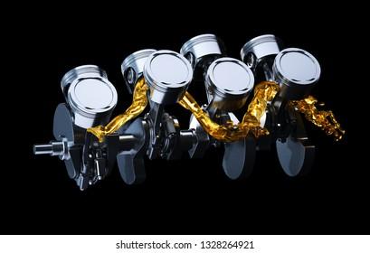 3d illustration of engine. Motor parts as crankshaft, pistons with motor oil splash.