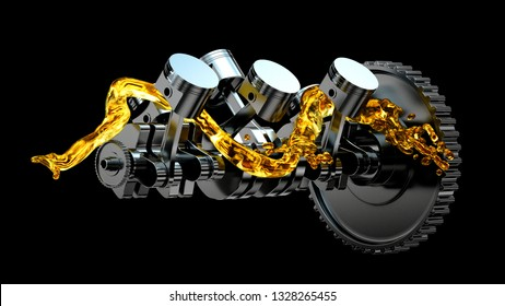 3d illustration of engine. Motor parts as crankshaft, pistons with motor oil splash.