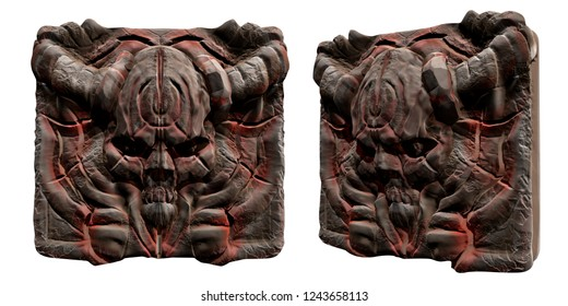 3d illustration of the engraved demon skull head plate with red stripes, horns and ancient symbols isolated front and angle view on white background.