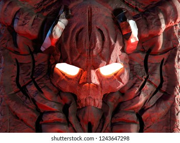 3d illustration of engraved in stone demon skull with horns , glowing fire eyes and ancient symbols close up view.