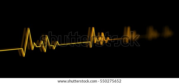 3d Illustration of Equalizer, or electrocardiogram with fluctuations in heart shape