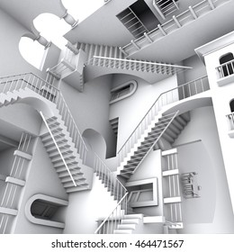 3D illustration of Escher's inspired stairs