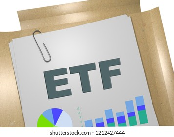 3D illustration of ETF title on business document