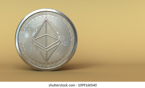 3d illustration of ethereum silver coin with space for text