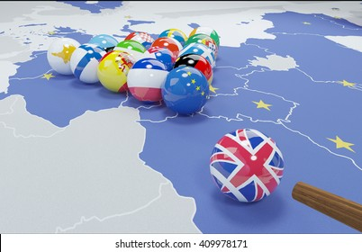 3D illustration of eu flags on the pool table 8
