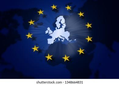3D illustration. Europe. European Union Flag. Circle of yellow stars on Europe map background.