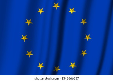 3D illustration. Europe. European Union Flag. Circle of yellow stars on a blue background.