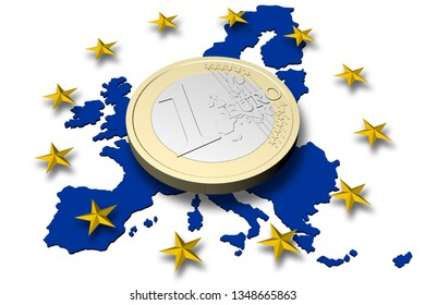 3D illustration. Europe. One Euro coin with europe map and stars in the background.