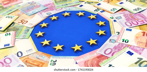 3D illustration, European Union and Money