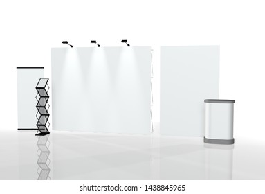 3D illustration, exhibition stand for advertising expo 3D rendering 3d render