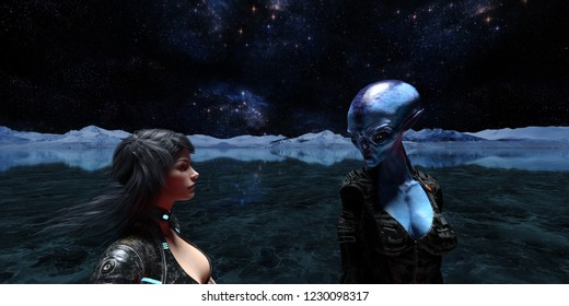 3d illustration of an extraterrestrial and a female human on an icy alien world with the universe in the background.