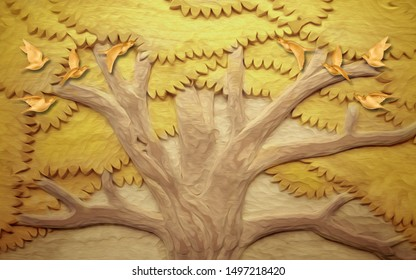 3d illustration, fabulous embossed yellow tree and birds