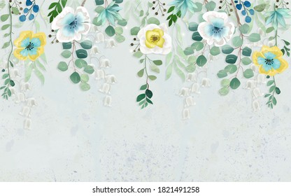 3d illustration, fabulous multi-colored flowers hang from the top of a light wall