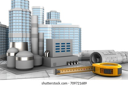 3d illustration of factory with urban scene over white background