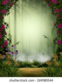 3d illustration of a fairy or elven background.  Featuring a misty forest framed by a stone gate and flowers.  Ready for your photo-manipulations or 3D renders.