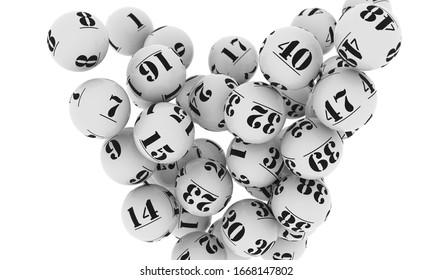 Illustration 3d des balles de loterie blanche en chute