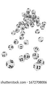 Illustration 3D de balles de loterie blanche en chute