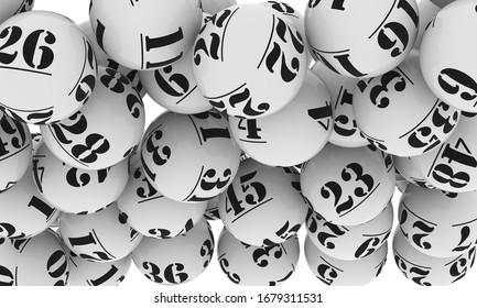 3d Illustration of falling white lottery balls