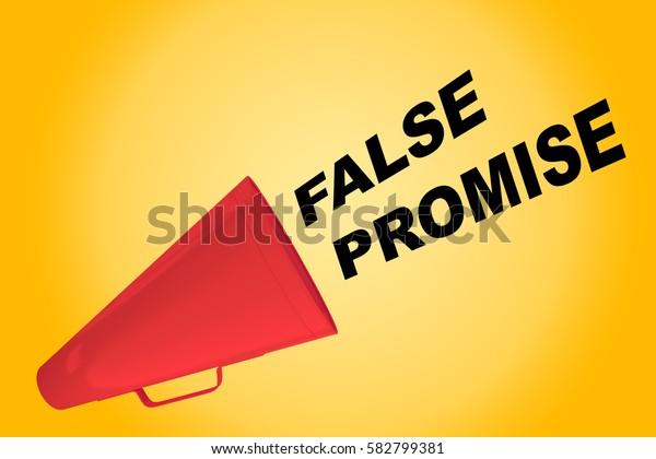 "3D illustration of ""FALSE PROMISE"" title flowing from a loudspeaker"