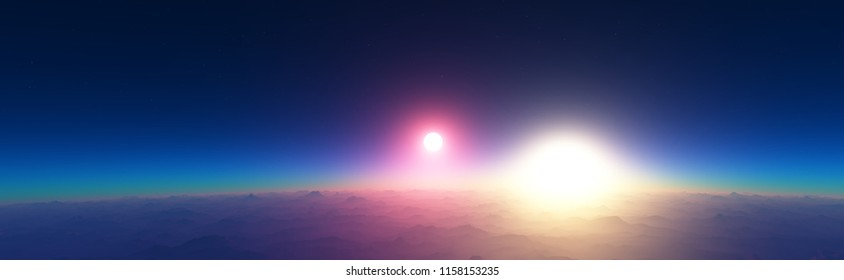 3D illustration of a fantastic extraterrestrial landscape. Orbital view of a sunset on a planet in a binary star system. Beautiful space wallpaper.