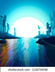 3D illustration of a fantastic landscape like a sci-fi genre