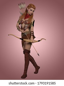 3D Illustration of Fantasy elven woman with abstract fantasy background