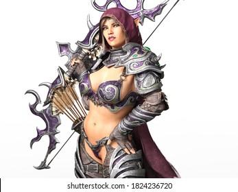 3D Illustration of a Fantasy Female Elf Archer
