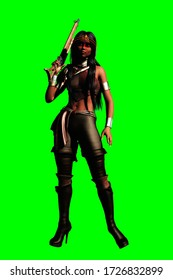 3D illustration of fantasy female pirate in leather trousers with rifle isolated on green background