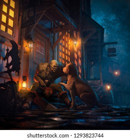 3D illustration of a fantasy scene with an orc and a dog
