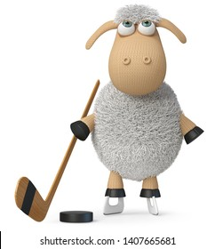 3d illustration farm animal playing ice hockey/3d illustration funny sheep with a stick and a puck