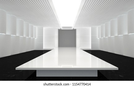 3D illustration of fashion empty runway. before a fashion show