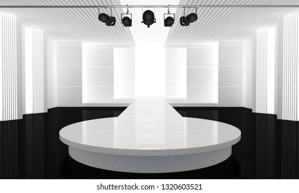 3D illustration of fashion empty runway. before a fashion show. 3D illustration