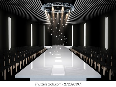 3D illustration of fashion empty runway with spot light. before a fashion show