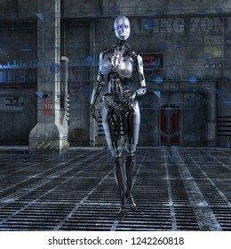 3D Illustration of a female Cyborg