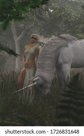 3D illustration of female elf with unicorn in foggy forest glade