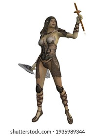 3d illustration of an female figure with a fantasy vampire hunter outfit
