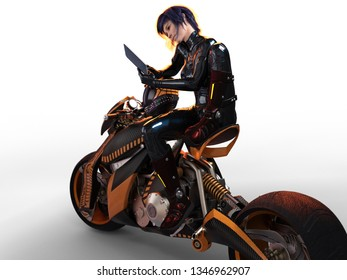 3D Illustration of a Female Rider Sitting on a Bike Reading a Book