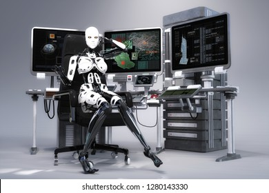 3D Illustration of a female Robot