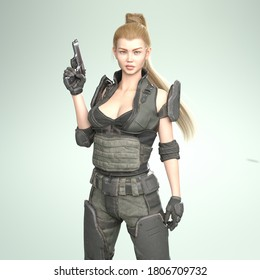 3D Illustration of a Female Soldier