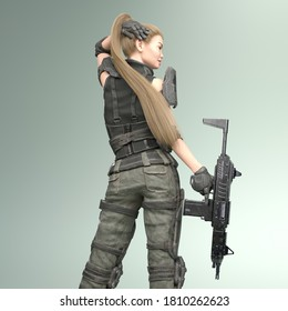 3D Illustration of a Female Soldier with a Rifle