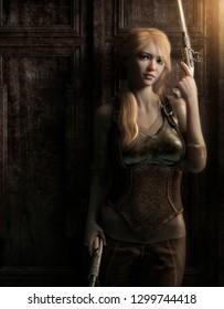 3D illustration of a female steampunk gunslinger