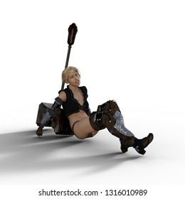 3D Illustration of Female Warrior Resting on Big Hammer