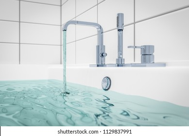 3d illustration of filling a typical bathtub with water